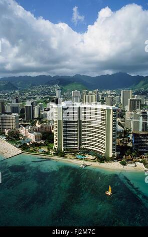 SHERATON HOTEL on WAIKIKI BEACH - OAHU, HAWAII - Stock Photo