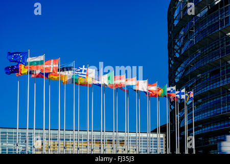 International flags in front of European Parliament, Strasbourg, Alsace, France Europe - Stock Photo