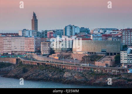 view of the city in Ensenada del Orzan,Tower of Hercules, Roman lighthouse and Casa del Hombre, Museo Domus, The - Stock Photo