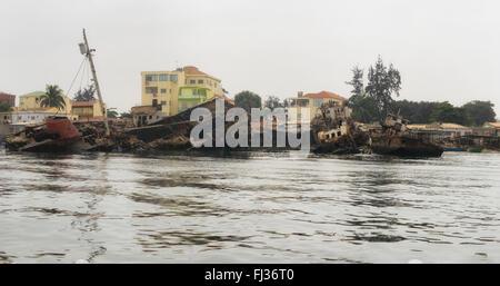 Shipwrecks in Luanda Bay,  Angola, Africa - Stock Photo