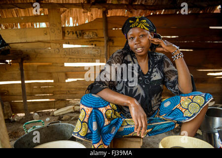 UNHCR refugee camp for the Fulani people, Cameroon, Africa - Stock Photo
