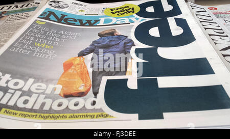 London UK - 29th February 2016 -  The New Day in newsstand.  The New Day - a new national daily newspaper launches - Stock Photo