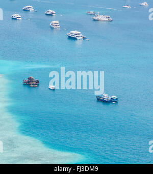 Group of boats from aerial view - Stock Photo