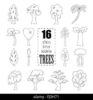Isolated thin line icons of trees in black color - Stock Photo