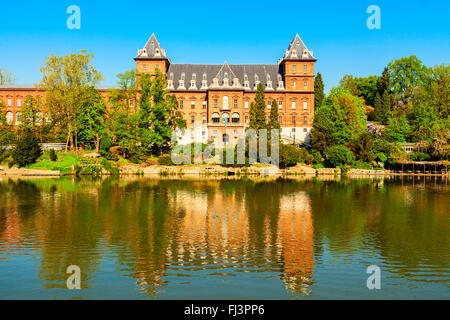 valentino castle in the city of turin - Stock Photo