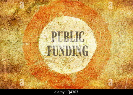 Text Public Funding written inside of a red circle on textured background - Stock Photo