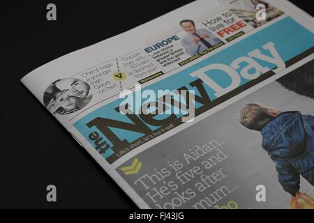 The first edition of The New Day British Tabloid Newspaper.  Monday February 29 2016 - Stock Photo
