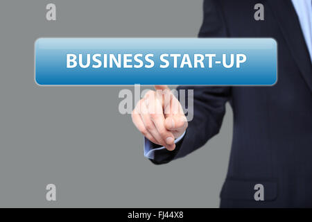 business, technology and networking concept - businessman pressing business start-up button on virtual screens - Stock Photo