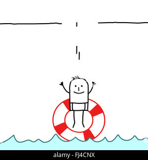man jumping in a buoy - Stock Photo