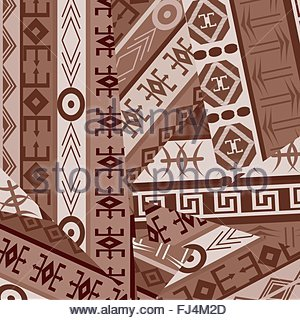 Ethnic ornaments patches in brown tones - Stock Photo