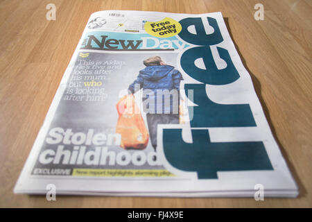 Lancashire, UK. 29th Feb, 2016. A copy of the New Day newspaper, a new daily title launched today by Trinity Mirror. - Stock Photo