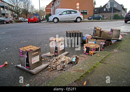 waste of fireworks in the streets, Germany - Stock Photo