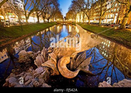 Triton Fountain of Koenigsallee, Germany, North Rhine-Westphalia, Duesseldorf - Stock Photo