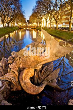 Triton Fountain on the Koenigsallee, Germany, North Rhine-Westphalia, Duesseldorf - Stock Photo