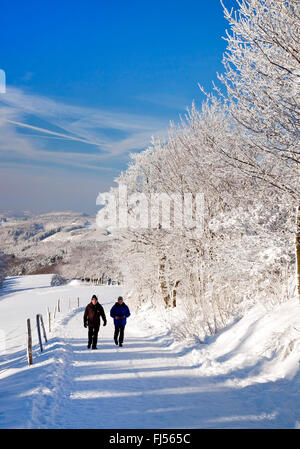 two wanderer on path in snowy landscape of Wildewiese, Germany, North Rhine-Westphalia, Sauerland, Sundern - Stock Photo