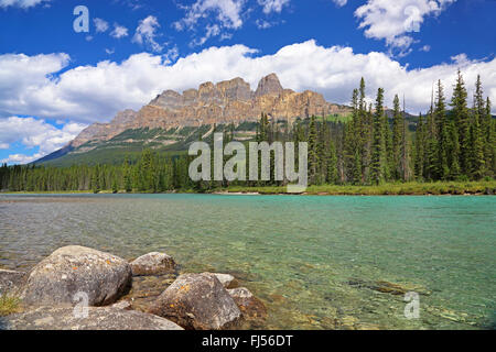 Castle Mountain in Bow River Valley, Rocky Mountains, Canada, Alberta, Banff National Park - Stock Photo