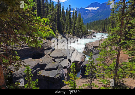 Mistaya Canyon in the Rocky Mountains, Canada, Alberta, Banff National Park - Stock Photo