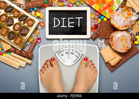 Diet concept. Feet of a young woman on bathroom scale - Stock Photo