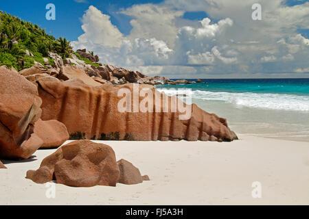 beach with granite rocks, Seychelles, La Digue, Petit Anse - Stock Photo