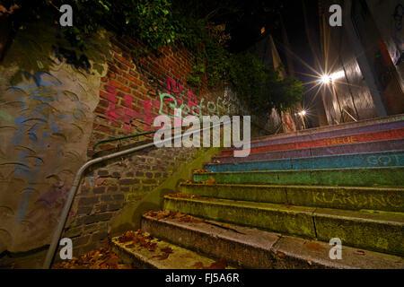rainbow stairs at night, Germany, North Rhine-Westphalia, Wuppertal-Elberfeld