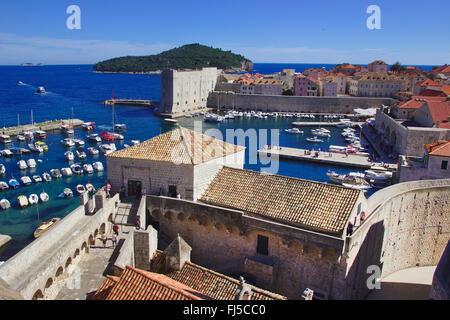 view from city wall to the harbour, Croatia, Dubrovnik - Stock Photo
