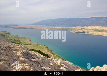view from Sveti Vid mountain to Pag island and Velebit mountains, Croatia - Stock Photo