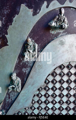 Detail of the door of the church of St. Peter is a Roman Catholic church in Lazzaro Spallanzani, Portovenere, Italy - Stock Photo