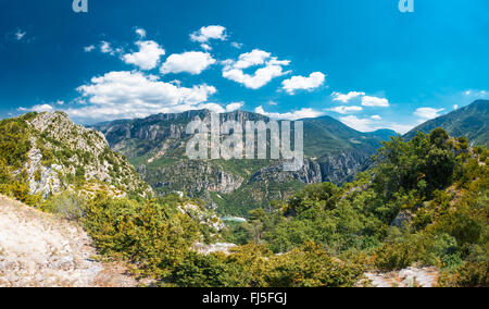 Panorama of amazing landscape of the Gorges Du Verdon in south-eastern France. Provence-Alpes-Cote d'Azur. - Stock Photo