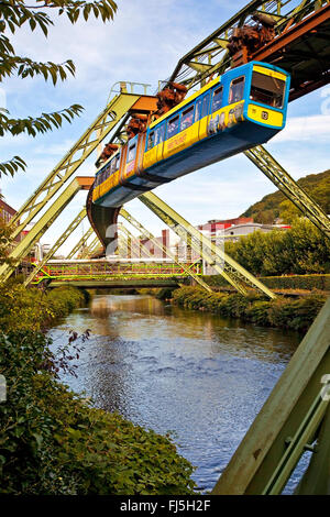 Wuppertal Suspension Railway above the river Wupper, Germany, North Rhine-Westphalia, Bergisches Land, Wuppertal - Stock Photo