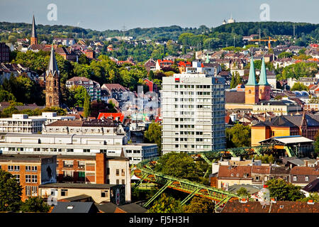 view to district Elberfeld with Wuppertal Suspension Railway, Germany, North Rhine-Westphalia, Bergisches Land, - Stock Photo