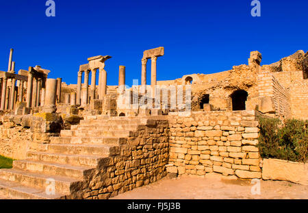 Historical 2nd Century Roman Theater ruins in Dougga, most preserved in Africa in 168 AD, Tunisia, Dougga - Stock Photo
