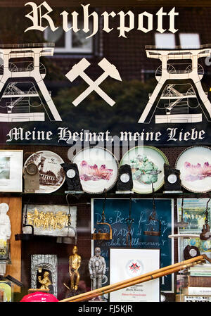 Ruhr Valley, souvenirs in a shop window of a kiosk, Germany, North Rhine-Westphalia, Ruhr Area, Bergkamen - Stock Photo