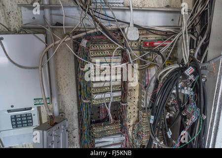 a telephone distribution board in an old office block with parts rh alamy com 66 Block Wiring old wiring black and brown with is hot