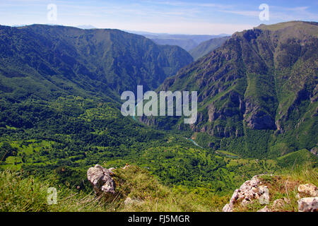 view from Curevac to Tara River Canyon, longest and deepest canyon in Europe, Montenegro, Durmitor National Park - Stock Photo
