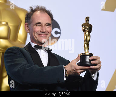 February 28, 2016 - Hollywood, California, U.S. - MARK RYLANCE who won the Oscar for Actor in a Supporting Role - Stock Photo
