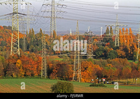 electricity pylons in agricultural landscape in autumn, Germany, North Rhine-Westphalia - Stock Photo
