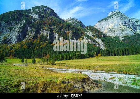 Grosser Ahornboden mountain pasture in the Karwendel mountains, Austria, Tyrol - Stock Photo