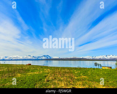 cirrus clouds above Malangen, Norway, Troms - Stock Photo