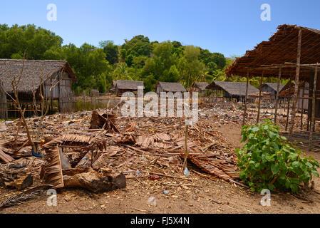 Sakalava village on Nosy Be, Madagascar, Nosy Be, Lokobe Reserva - Stock Photo