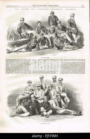 Oxford & Cambridge Boat race crews 1867 - Stock Photo
