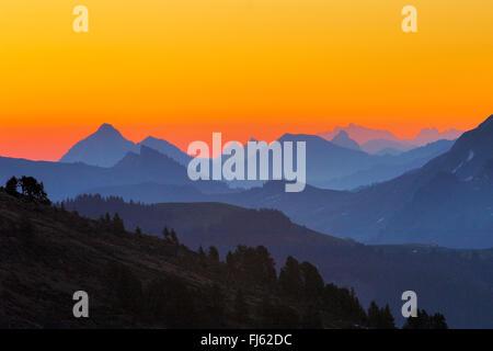sunrise over the Alps, Switzerland, Bernese Oberland - Stock Photo