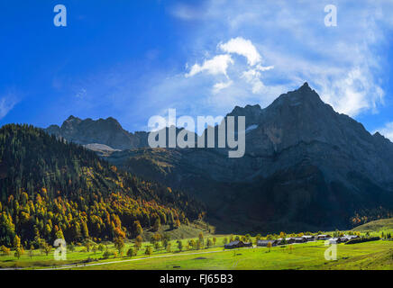 view over the Angenalm of the Upper Ahornboden in direction of the Eiskarlspitze, Austria, Tyrol, Karwendel Mountains - Stock Photo