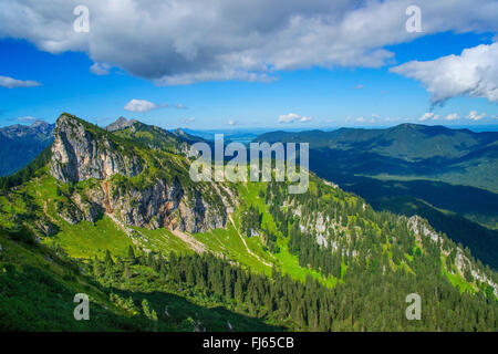 view from Puerschling on the western part of the Allgaeu Alps, Germany, Bavaria, Oberbayern, Upper Bavaria - Stock Photo