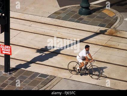 cyclist, USA, Louisiana, New Orleans - Stock Photo