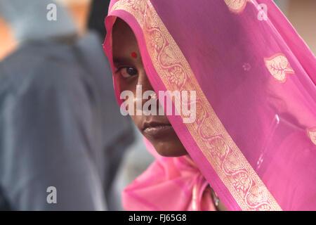 woman behind a pink veil, India, Delhi - Stock Photo