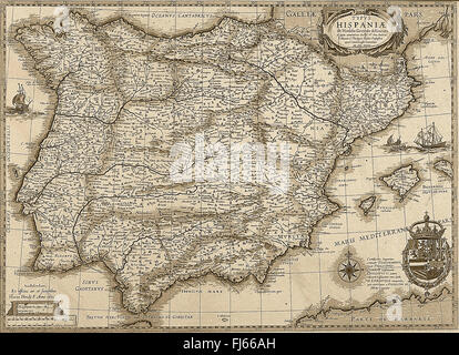 Antique Spain and Portugal map in sepia tone. Horizontal view - Stock Photo