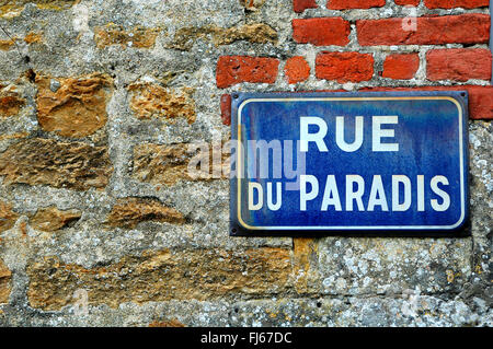 French street name sign, street of the paradise, France, Normandy, D�partement Calvados, Beaumont-en-Auge - Stock Photo