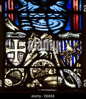 Black Country window in St Mark`s Church, Pensnett, West Midlands, England, UK - Stock Photo
