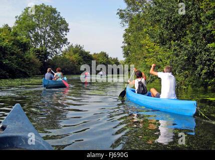 canoeists on the Stever, leisure amusement, Germany, North Rhine-Westphalia, Muensterland, Luedinghausen