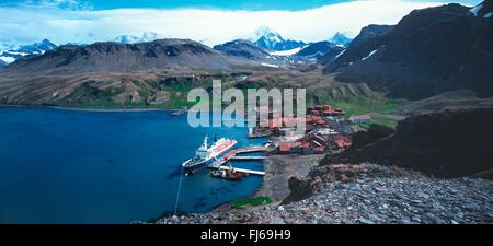 cruise ship Sea Adventurer at the pier of the whaling base Grytviken, Subantarctica, Suedgeorgien, Grytviken - Stock Photo